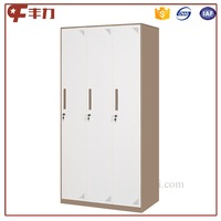 Top quality 3 door wardrobe lockers with cyber lock/metal changing room locker