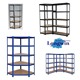 5 level boltless modular industrial shelving system, metal shelving, garage warehouse shelving