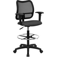 Ergonomically Contoured fabric office drafting chair