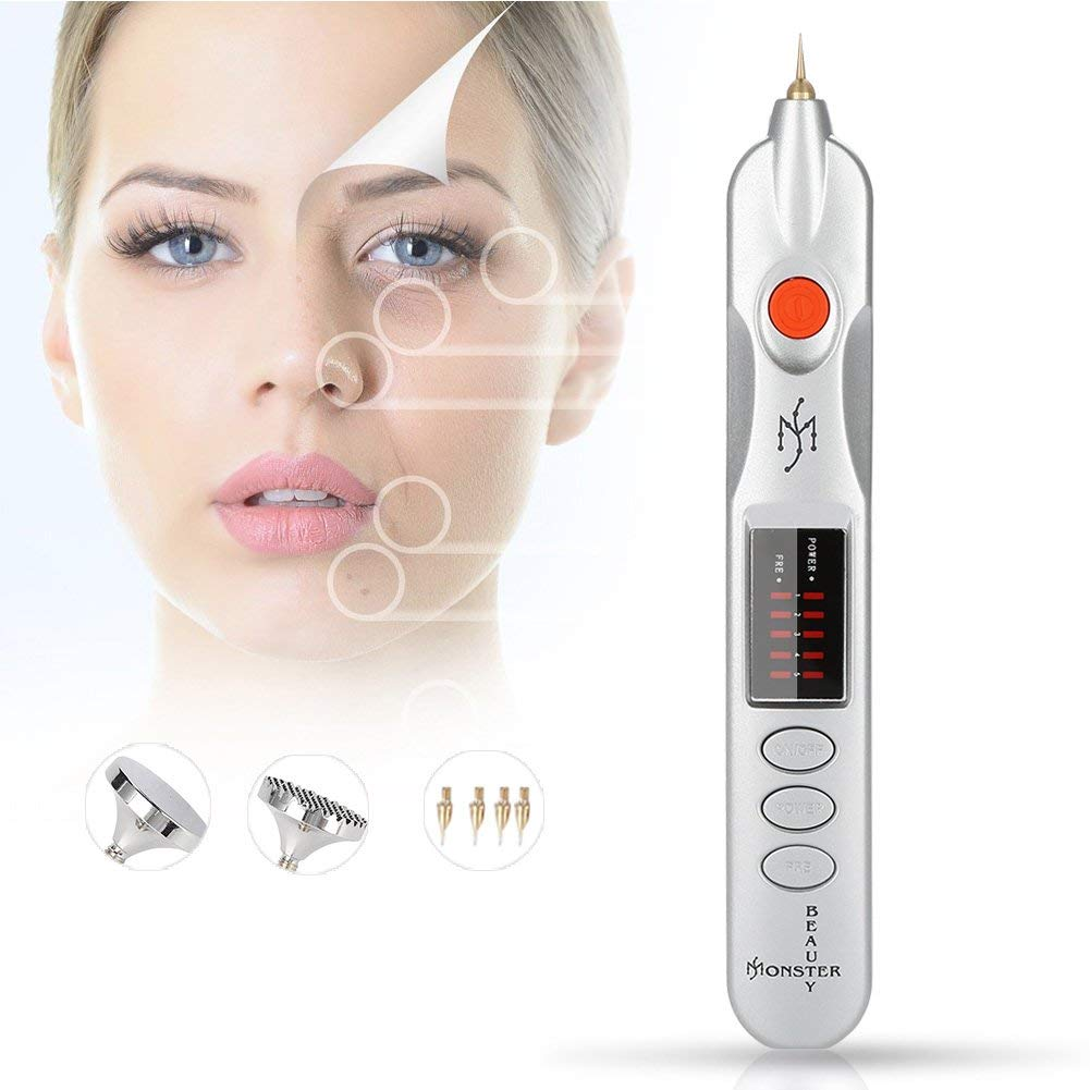 ZJchao Dot Mole Removal Pen, Professional Plug-in Electric Magic Pen Freckle Wrinkle Mole Tatto Removal Pen Ionic Instrument Effective Removal of Freckles, Senile Plaques, Tattoo Pigments(#)