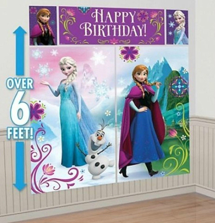 Disney catoon Scene Setter Happy Birthday Banner & 6 Latex Ballons party Supply