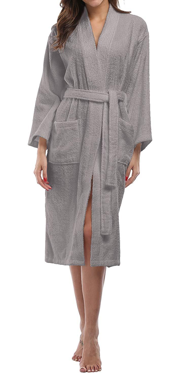 Get Quotations · Kimono Palace Women s Soft Turkish Cotton Spa Lounge Robe  Terry Short Bathrobe af775040c