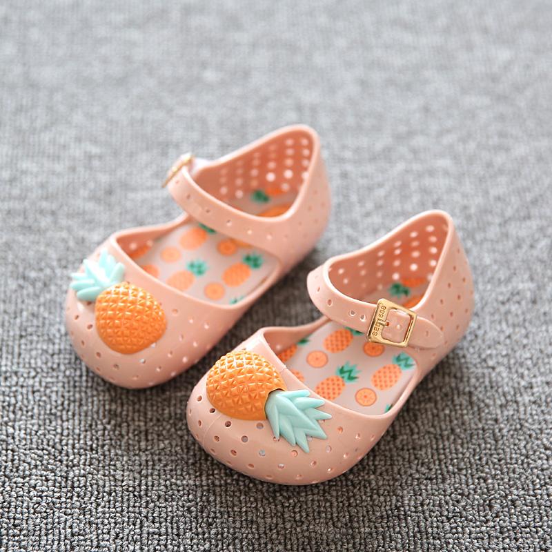 Summer Mini Melissa Pineapple Jelly Girls Sandals MINI FURADINHA VII Pineapple Fruit Jelly Hole Shoes For
