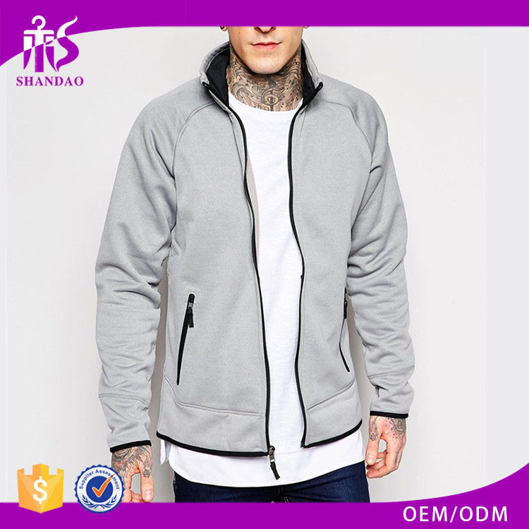 2017 Guangzhou Shandao OEM Custom Spring 100% Cotton Long Sleeve Plain Dyed Zip Up Jersey Tall Hoodies Snowboard