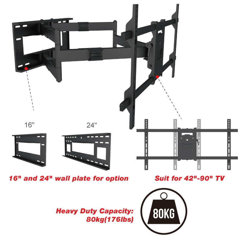 Heavy Duty Dual Arm Cantilever Mount For 90 Inch LCD Screen