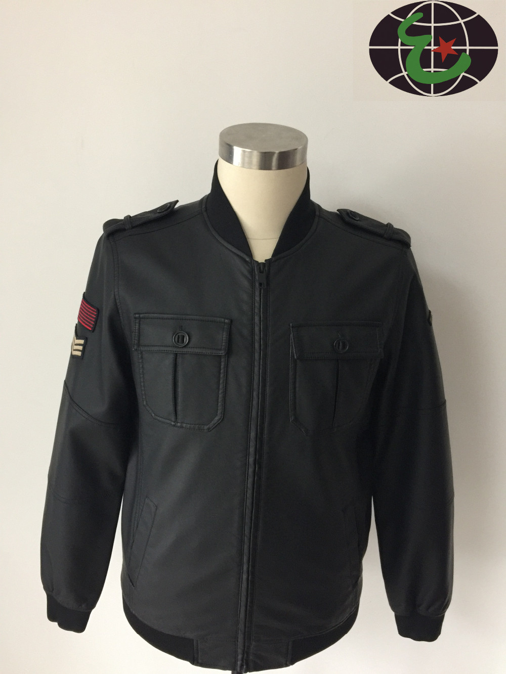 Trendy Style Mens Army Jacket With Sleeve Badge