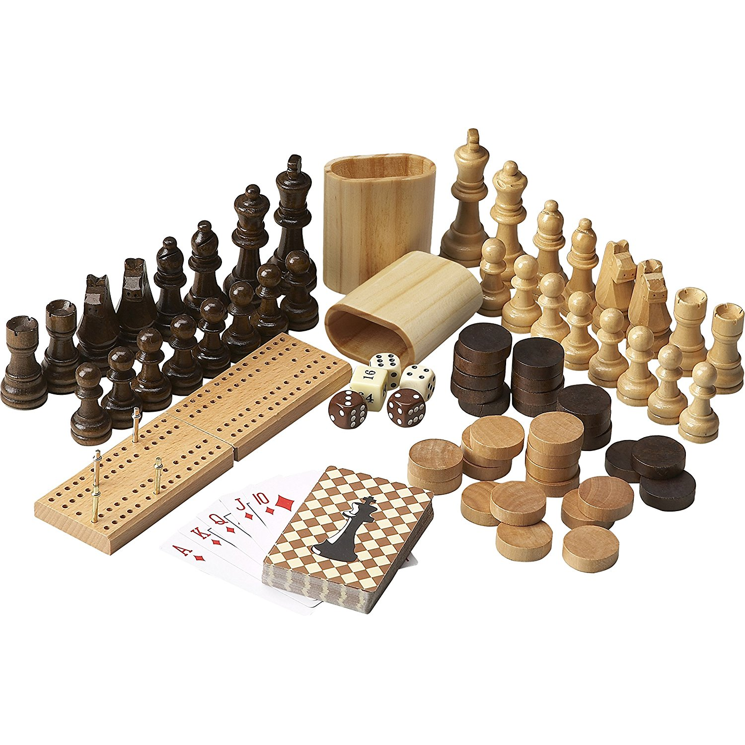 Wooden Multi Game Table Complete Set Carved Wood Chess Set checkers, Cribbage Set & Deck of Cards