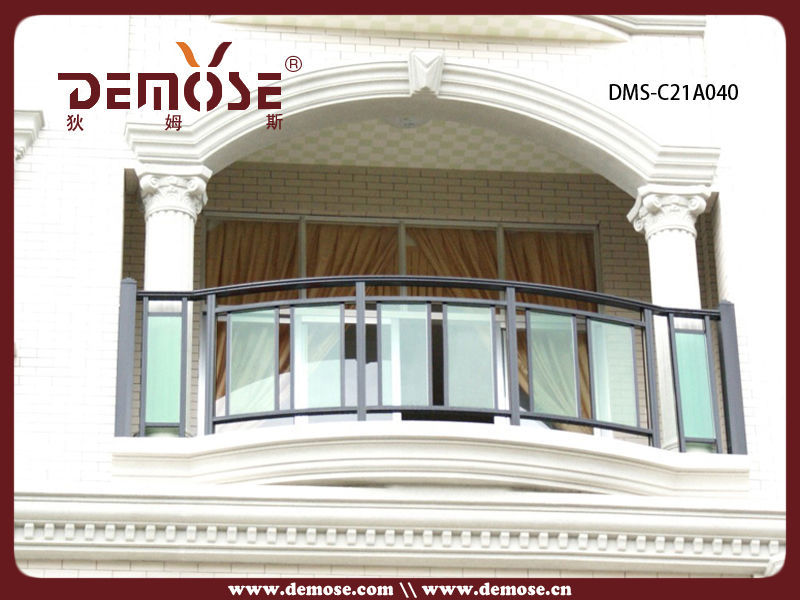 Exterior veranda balcony aluminum and glass railings for Balcony glass railing designs pictures