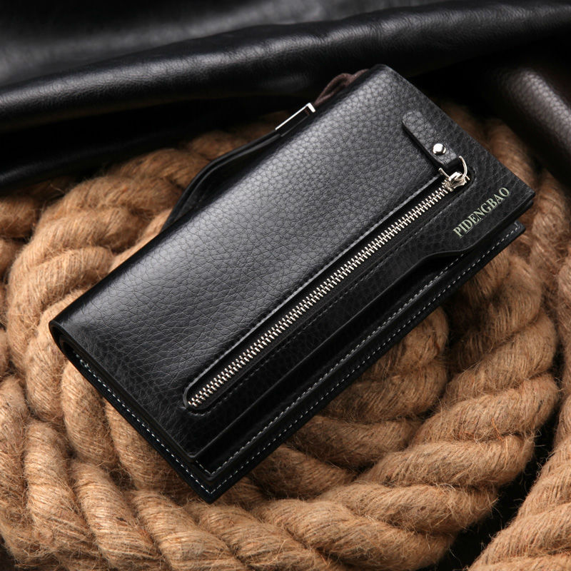 hot sales men s wallet fashion brand zipper leather purse card holder multifunctional business long man