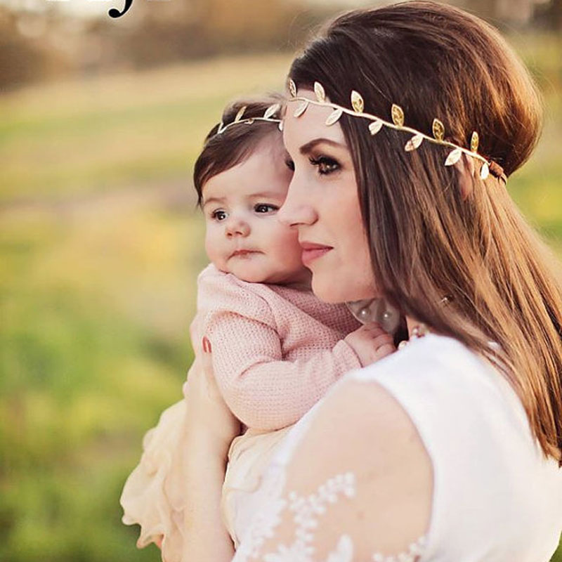 5cb976733 Mommy and Me Gold Silver Leaf Headband Set For Hair accessories Peace Olive  branch Baby Girl Cute Leaves Infantil hairband
