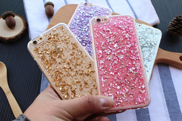 Luxury Bling Gold Foil Soft TPU Phone Case Transparent Cover Compatible for iPhone 7