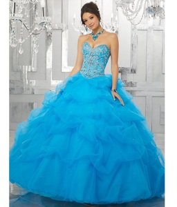 16c768d2a48 2018 Strapless Beaded Corset Ball Gowns Blue Tulle Pleats Custom Made Sweet  16 Dresses Quinceanera Dresses