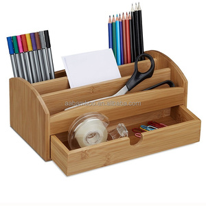 Multi Storage bamboo desktop organizer for all pens, pencils, scissors, rulers
