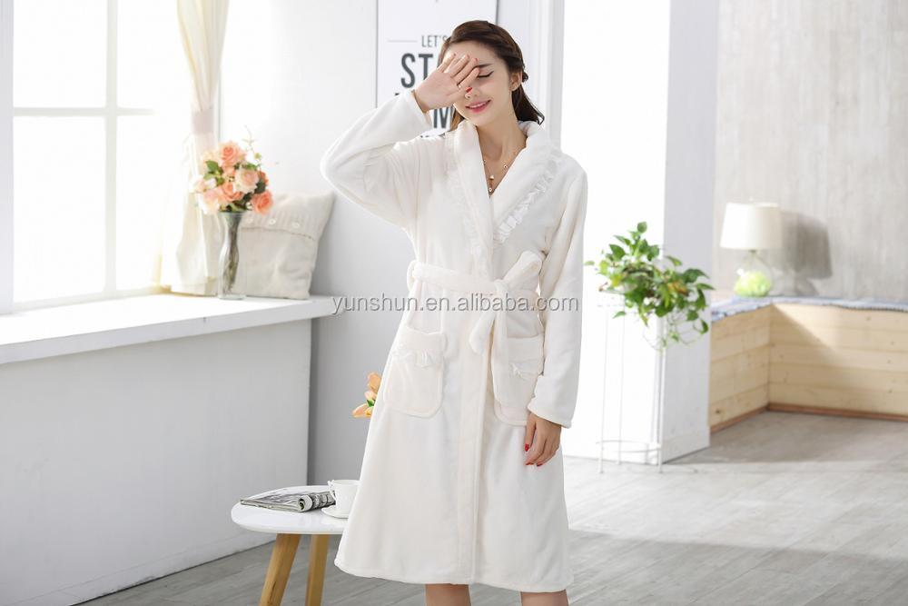Korean style comfortable luxury flannel long sleeve girls bathrobe night  robes fd2556991
