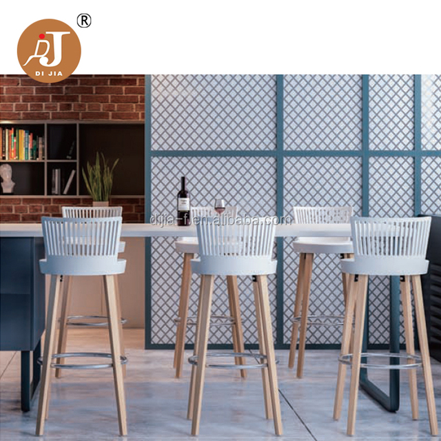 New Design Restaurant White Plastic Bar Stool with Wooden Legs