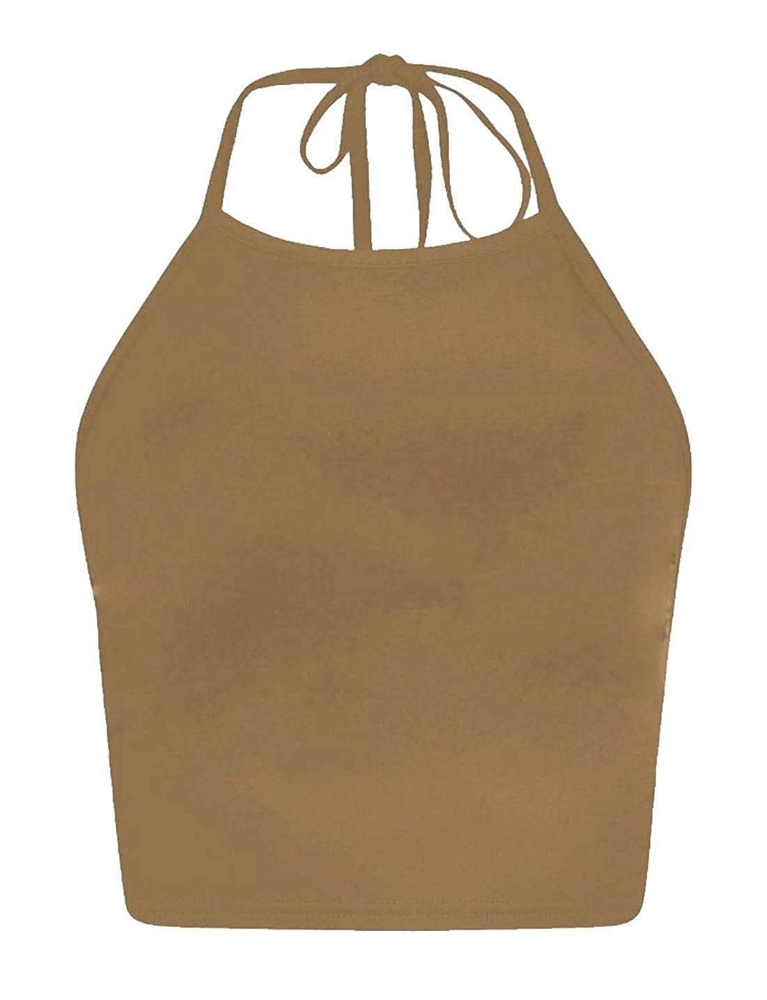 MA ONLINE Ladies Halter Neck Back Tie Crop Top Womens Plain Print Sleeveless Fancy Blouse Small/Large