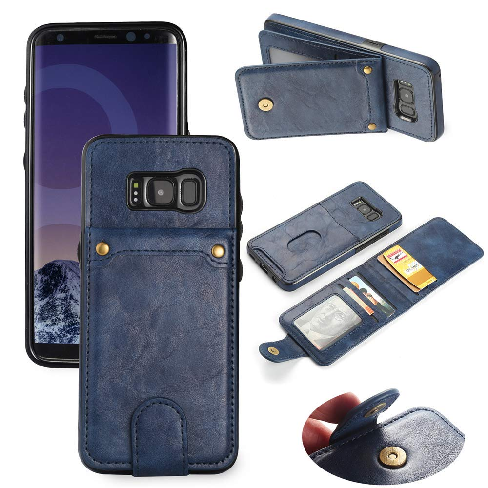 Scheam for Samsung Galaxy S8 Plus Case, [Extra Card Slot] [Wallet Case] PU Leather TPU Casing Excellence [Drop Protection] Case Compatible with Samsung Galaxy S8 Plus, Blue