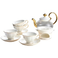 Flower Tea Cup Set English Afternoon Tea Ceramic Glass Tea Set Teapot with Heating base