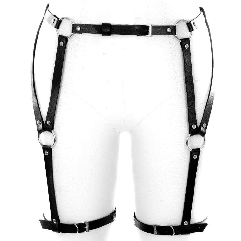 9464a07c1f0 Get Quotations · BANSSGOTH PU Harness Leg Sexy High-Waisted Leather  Suspender Punk Garter Belt with Two Leg