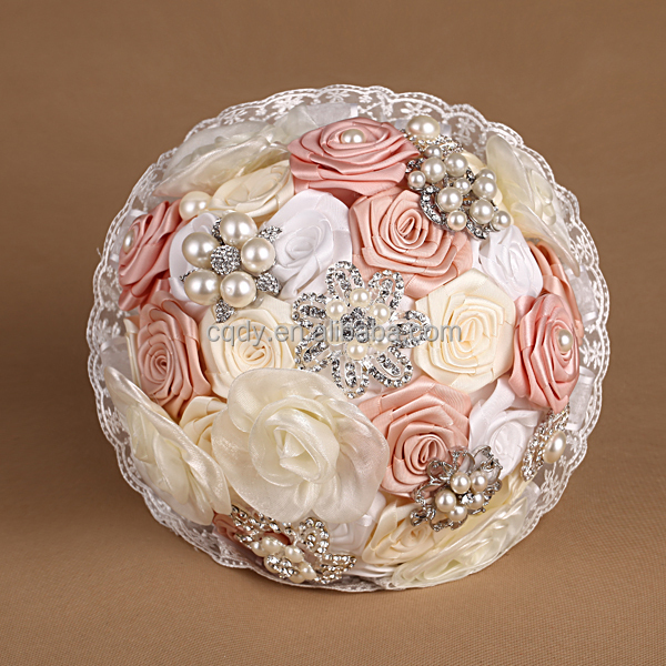 wedding bouquet holders for silk flowers rococo style satin artificial flower bouquet wedding 8462