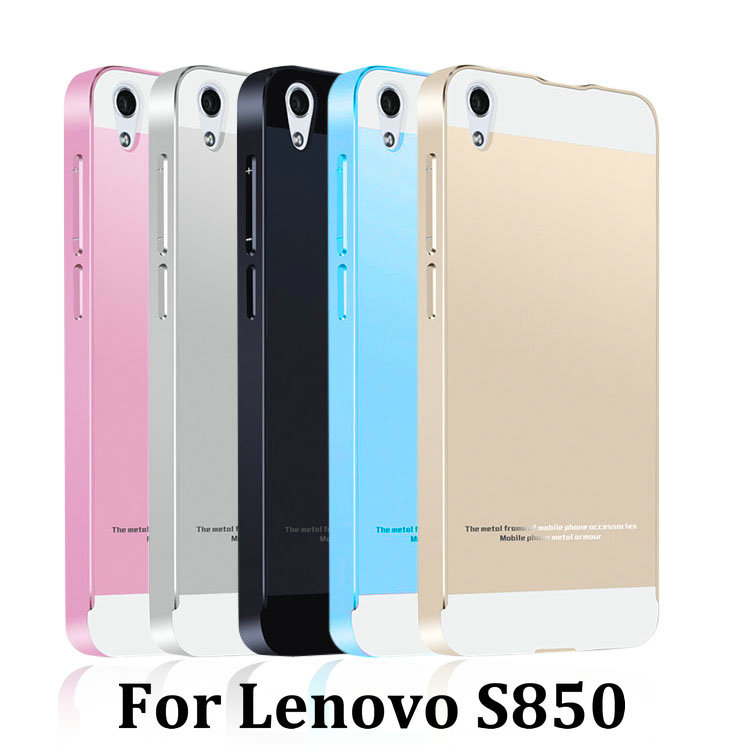 brand new 16ed9 c363e 2015 Hot Lenovo S850 3G Metal Case Acrylic Back Cover & Aluminum Frame Set  Phone Bag Cases for S850
