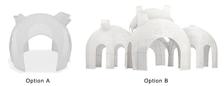 Foshan wholesale luxury waterproof rattan wicker outdoor wedding patio garden tent house