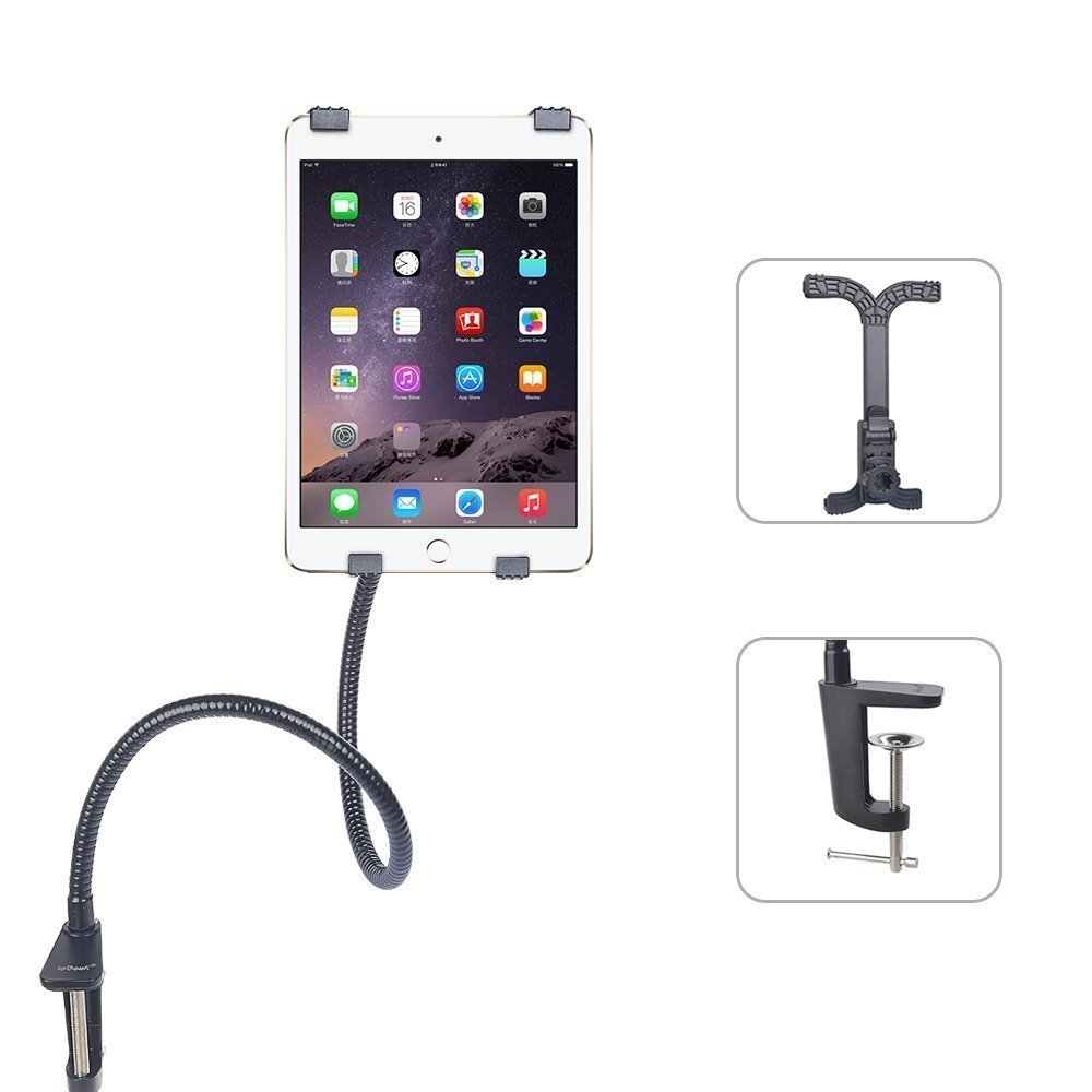 """ieGeek 360 Degree Rotating Hands-free Gooseneck Holder Long Flexible Adjustable Tablet Stand Clip-on Bed Mount Universal for iPad Mini, iPad 2/3/4,iPad Air, and other 8""""-12"""" Tablets-Black"""