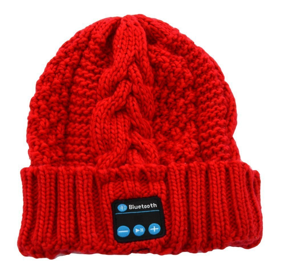 BearsFire Wireless Bluetooth Music Hat Knitted Winter Hat Magic Hat Headphone Headset Earphones MP3 Speaker Music Player Hands-free Hat Women/Men Winter and Spring Warm Hats Beanie Hat (Red)