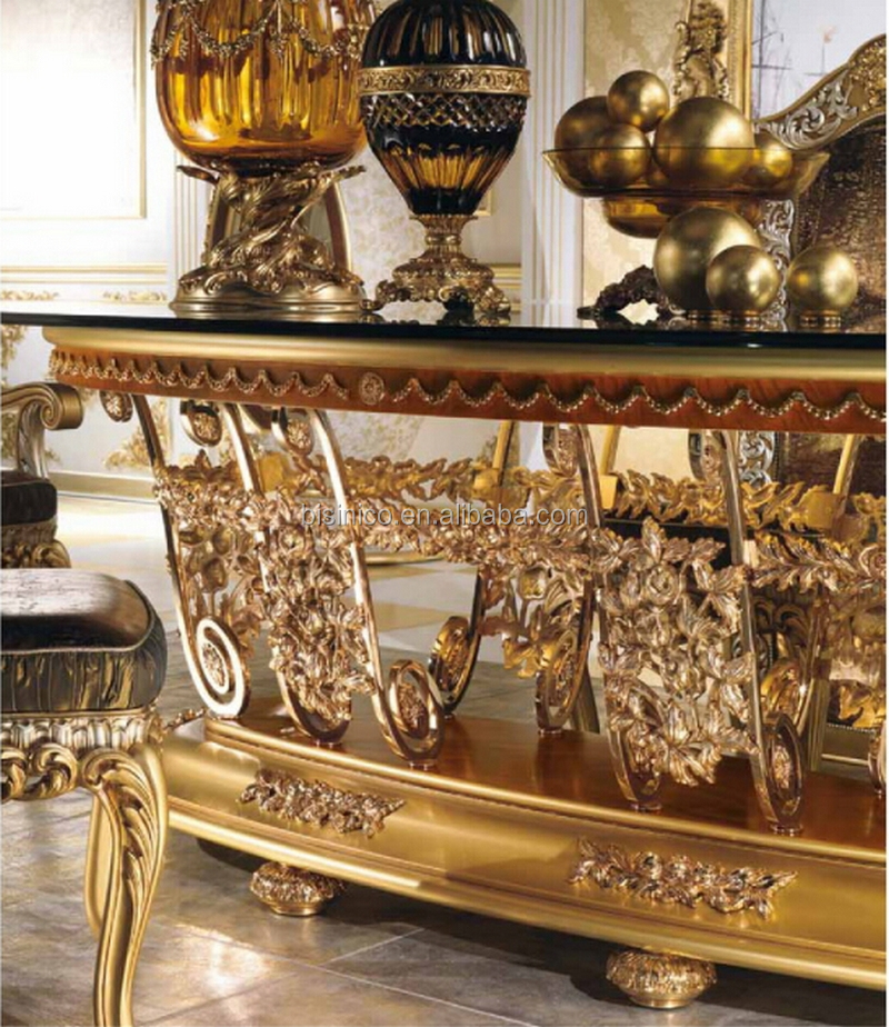 Italian Royal Dining Room Furniture Set, Imperial Wood Carving And Brass  Marquetry Inlay Glass Top