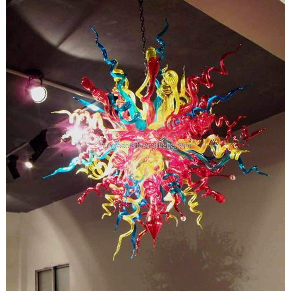 New Arrival Multicolor Flower Chain Chandeliers Handmade LED Hand Blown Glass pendant <strong>lights</strong>