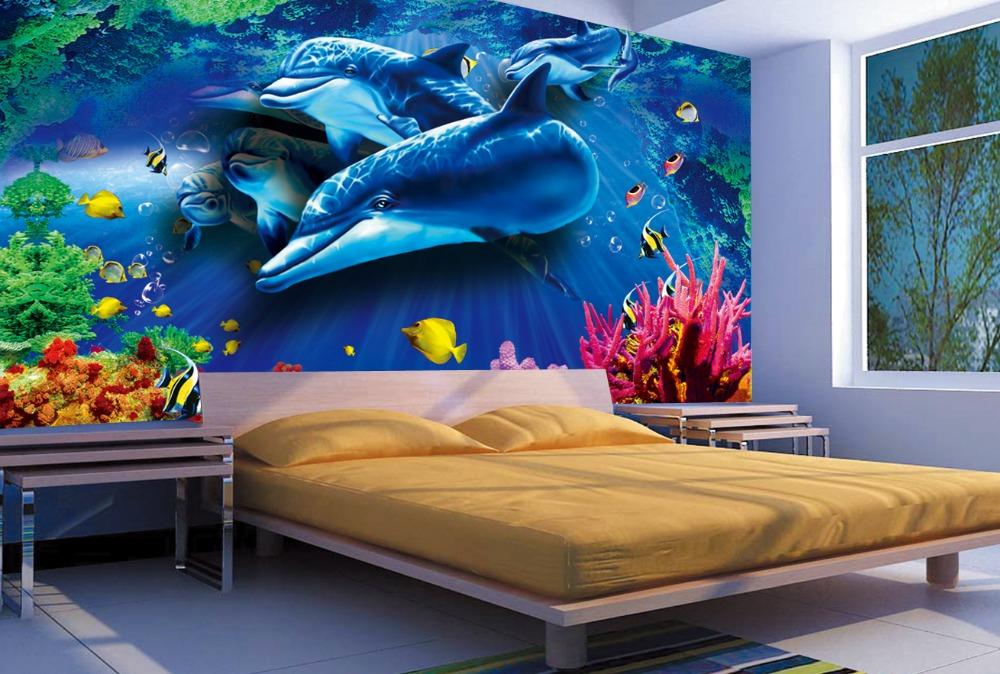 Fondos de pantalla 3d estereosc pico delf n animal for Murales en 3d para salas