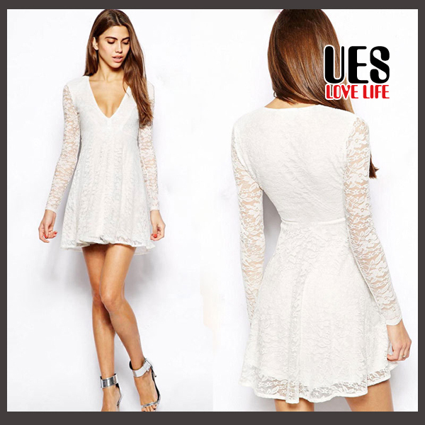 221159f1bc Get Quotations · UES Newest Fashion Embroidery Lace Cheap Plus Size For  Women White Dress vestido Dresses Summer Casual