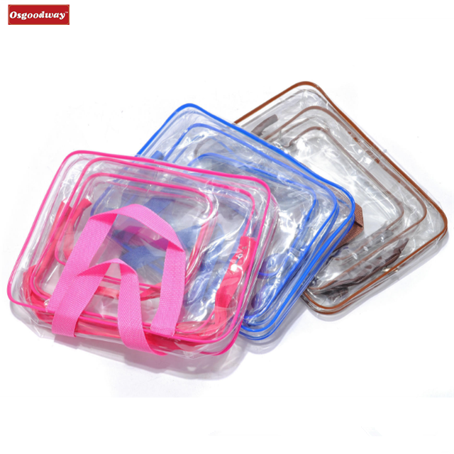 Osgoodway Toiletry Bags 3 in 1 Gift Makeup Bags and Cases Plastic Bag Clear PVC Travel Storage Bag Brushes Organizer