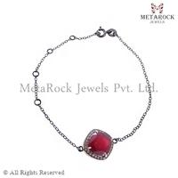 Sterling Silver Chain Bracelet Pave Setting Gemstone Bracelet Indian Handmade Bracelet Jewelry