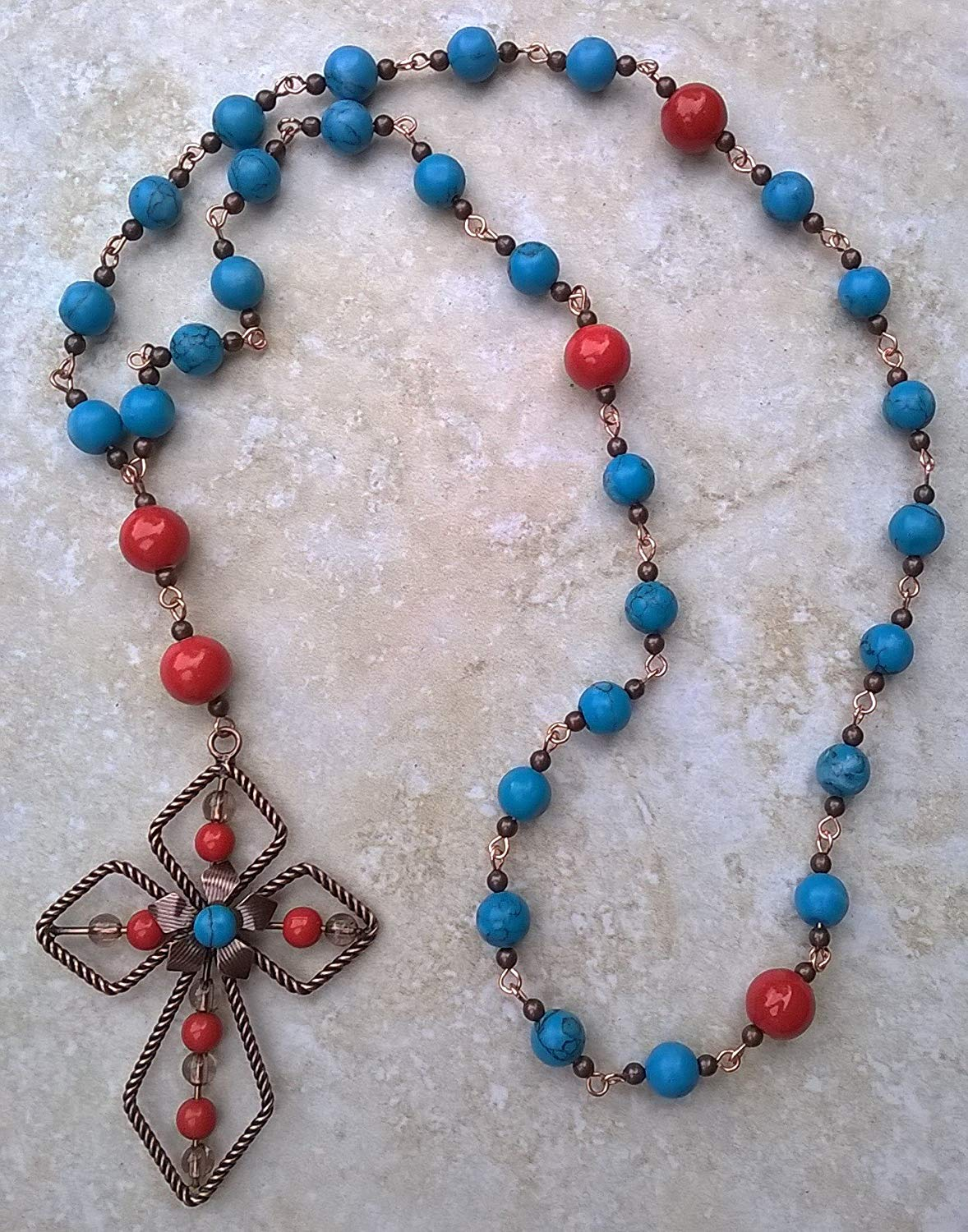 Anglican Prayer Beads in Red, Copper, and Turquoise