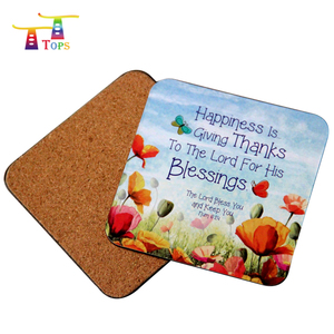 hot selling custom printed plain square round mdf cork coaster, cork coaster