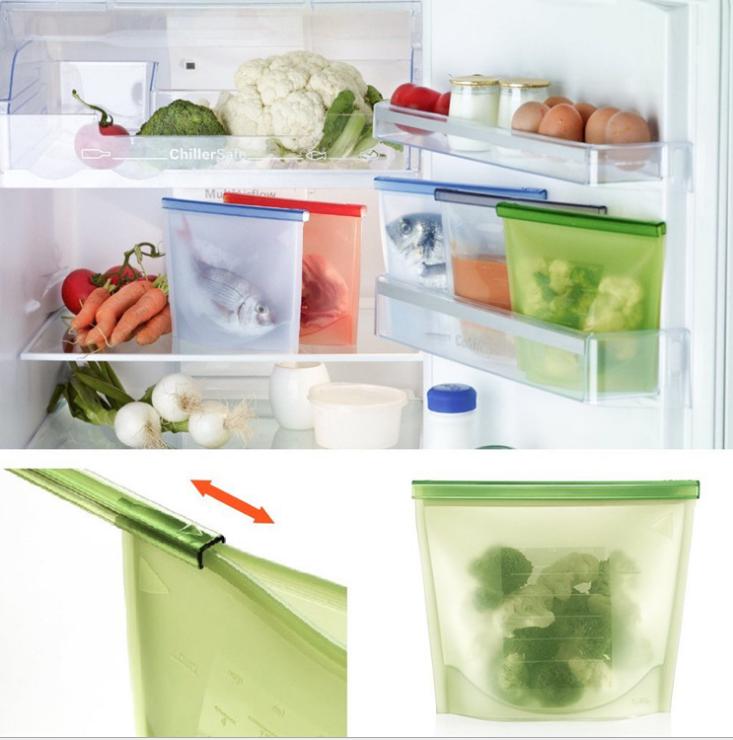 High Quality Fridge Food Preservation Bag Reusable Silicone Food Storage Bag With Zipper