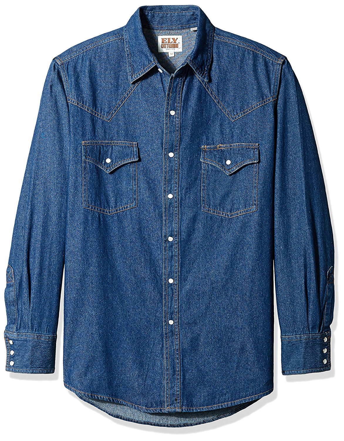 3be7fe1d Get Quotations · Ely & Walker Men's Long Sleeve Denim Western Shirt,