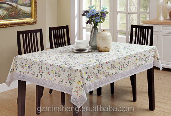 high quality household used PVC table cloth with 3 inch white lace edge