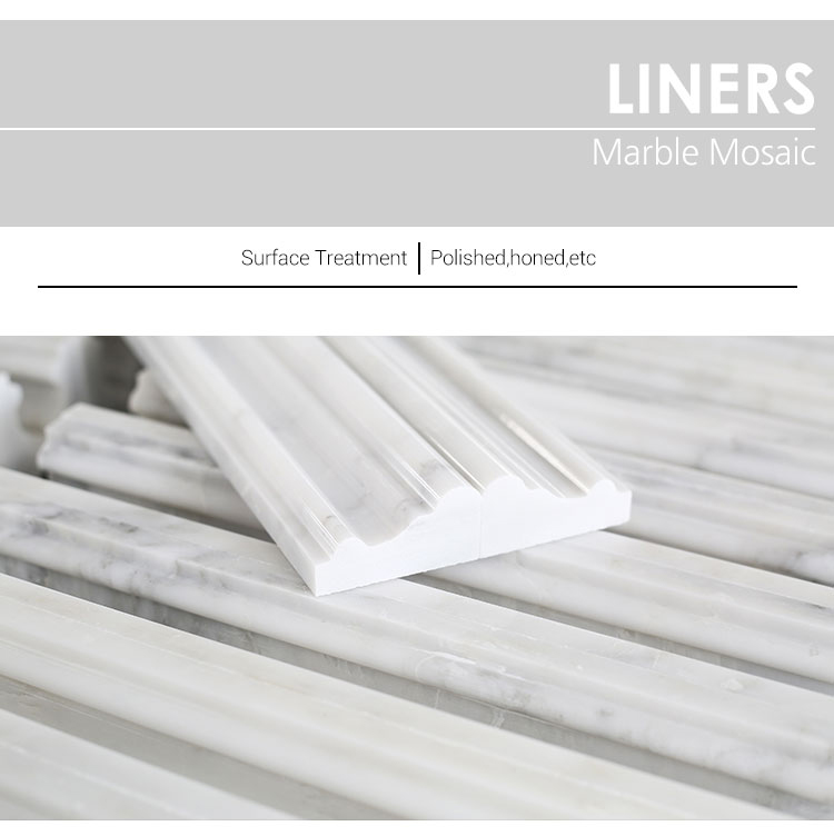 Natural Stone White Pencil Marble Baseboard Chair Rail Decorative Wall Trim