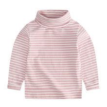 Осенне-зимний детский хлопковый свитер с воротником под горло для девочек и мальчиков, кардиган, Базовая рубашка Топы с длинными рукавами, о...(Китай)