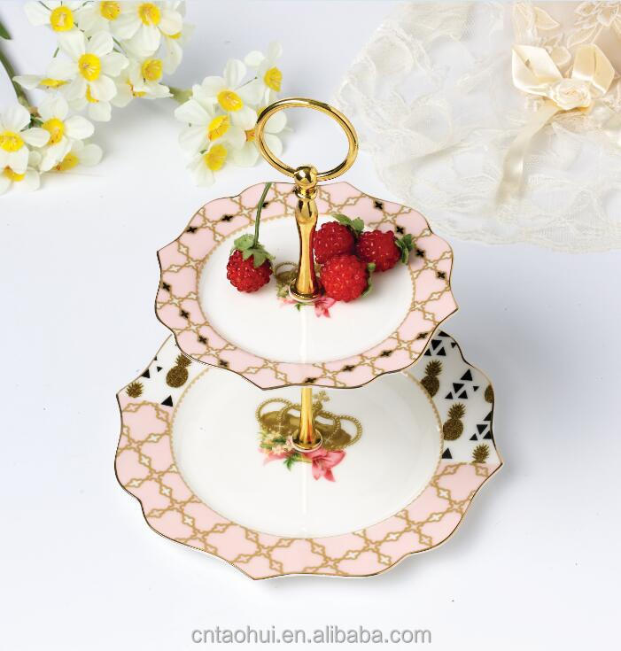 ceramic royal crown 2 tier cake stand
