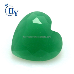 Cheap gemstone malay jade green color heart shape fake glass gemstone for jewelry making