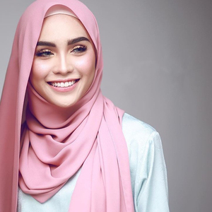 High Quality Pearl Bubble Chiffon Muslim Hijab Scarf Shawl Head Wrap Foulard Plain Solid Colour Shawl Wraps For Ladies