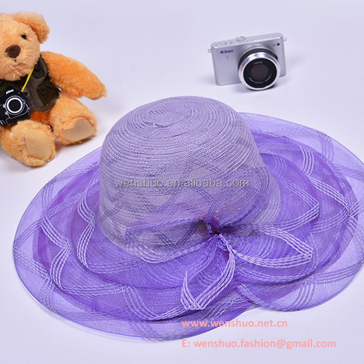 Wholesale Elegant Women's Floppy Straw Hat With Organza Cover