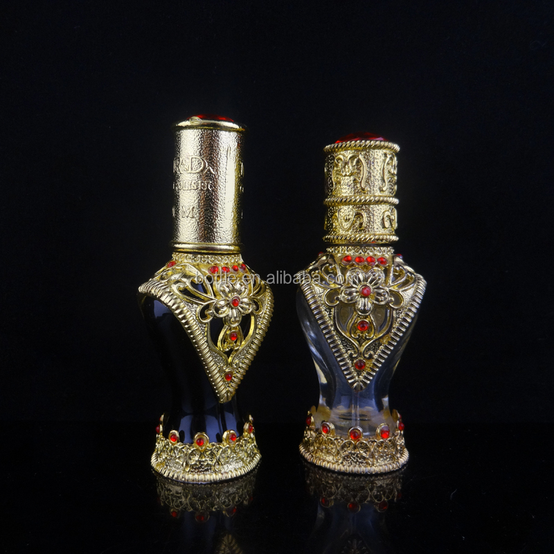 Czech Vintage Perfume Essential Oil Glass Gold Crystal