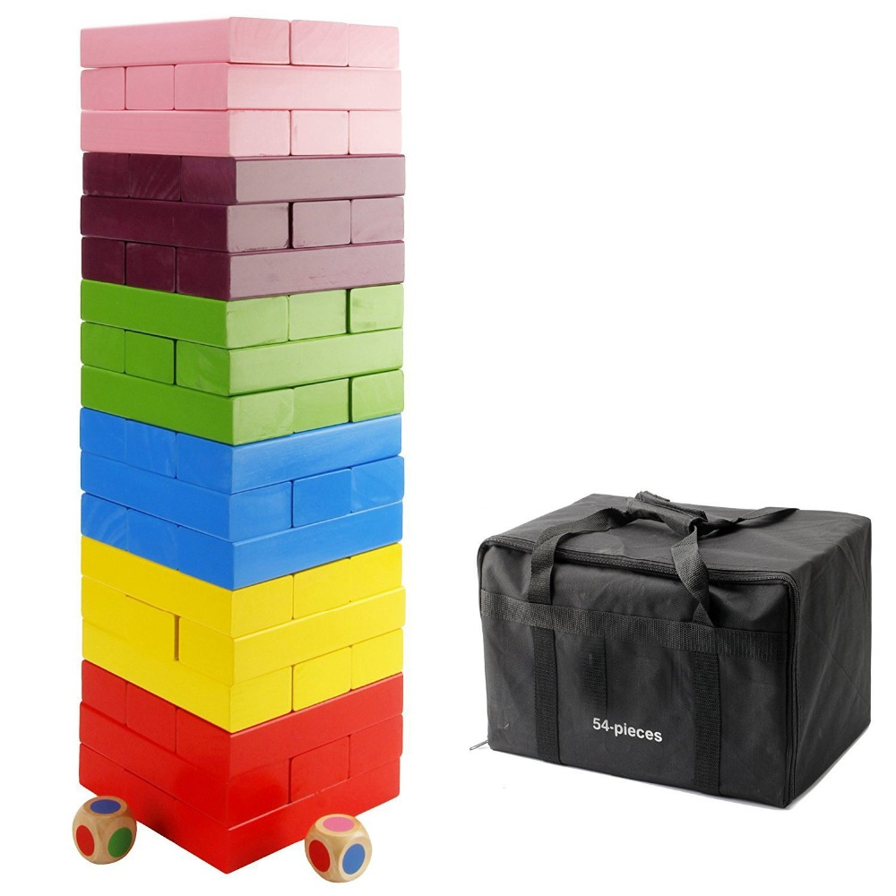 Colorful 54 pieces Wooden Giant Tumble Tower Building Blocks
