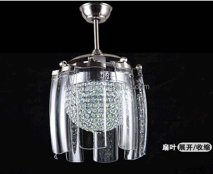 Modern Hotel Decor Crystal White Ceiling Fan Lamp Chandelier Fancy ...