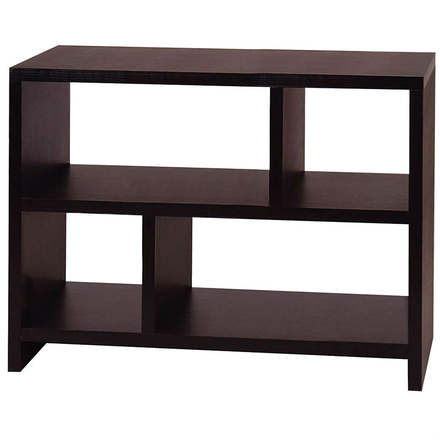 Trustpurchase Modern 2-Shelf Bookcase Console Table in Espresso Black Wood Finish, Modern Design 2-Shelf Bookcase Console Table in Espresso Brown Black Wood Finish Will Complete The Look of The Home