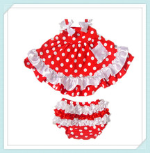 New Arrivals Swing Top Red White Polka Dots Swing Bloomer Set For Baby Summer Kids Clothing Sets